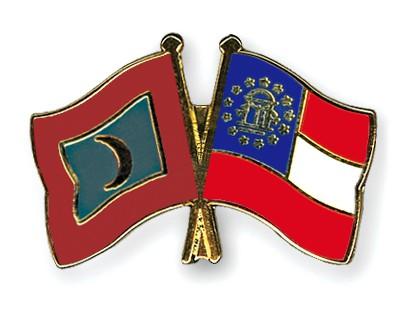 Crossed Flag Pins Maldives-Georgia
