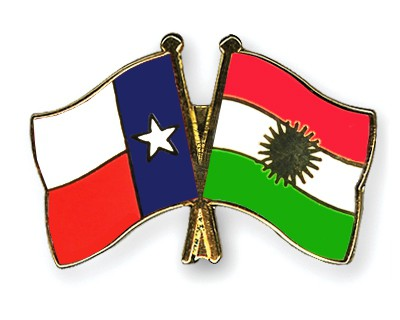 Crossed Flag Pins Texas-Kurdistan