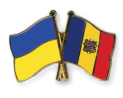Crossed Flag Pins Ukraine-Andorra