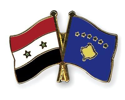 Crossed Flag Pins Syria-Kosovo