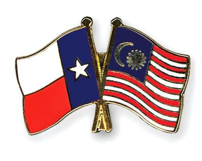 Crossed Flag Pins Texas-Malaysia