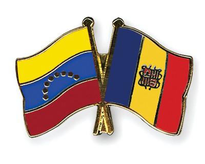 Crossed Flag Pins Venezuela-Andorra