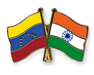Crossed Flag Pins Venezuela-India