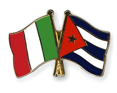 Crossed Flag Pins Italy-Cuba