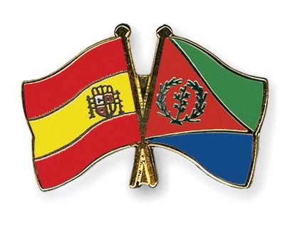 Crossed Flag Pins Spain-Eritrea
