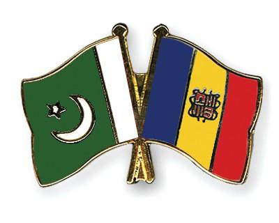 Crossed Flag Pins Pakistan-Andorra