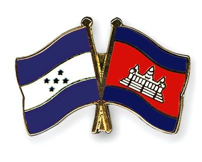 Crossed Flag Pins Honduras-Cambodia