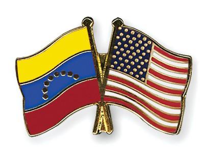 Crossed Flag Pins Venezuela-USA