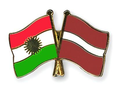 Crossed Flag Pins Kurdistan-Latvia