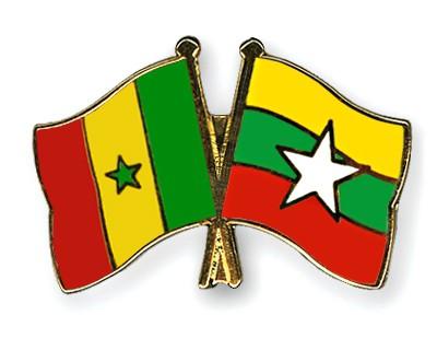 Crossed Flag Pins Senegal-Myanmar