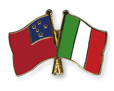 Crossed Flag Pins Samoa-Italy