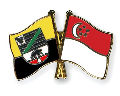 Crossed Flag Pins Saxony-Anhalt-Singapore