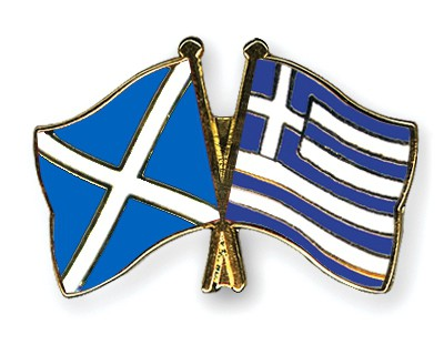Special Offer Crossed Flag Pins Scotland-Greece