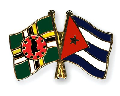 Crossed Flag Pins Dominica-Cuba
