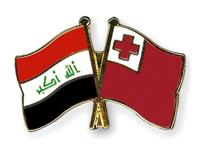 Crossed Flag Pins Iraq-Tonga