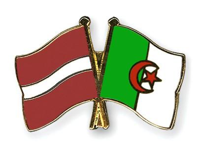 Crossed Flag Pins Latvia-Algeria