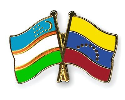 Crossed Flag Pins Uzbekistan-Venezuela