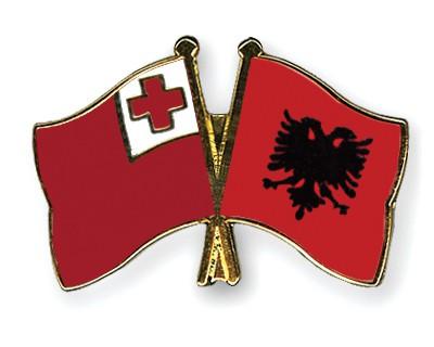 Crossed Flag Pins Tonga-Albania