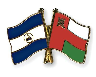 Crossed Flag Pins Nicaragua-Oman
