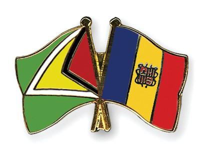Crossed Flag Pins Guyana-Andorra