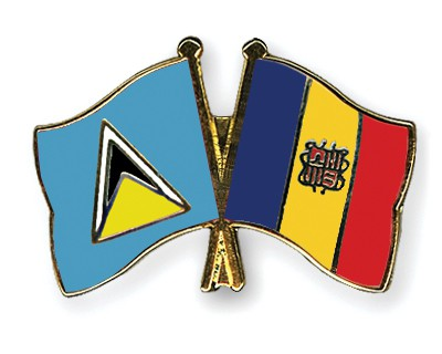 Crossed Flag Pins Saint-Lucia-Andorra