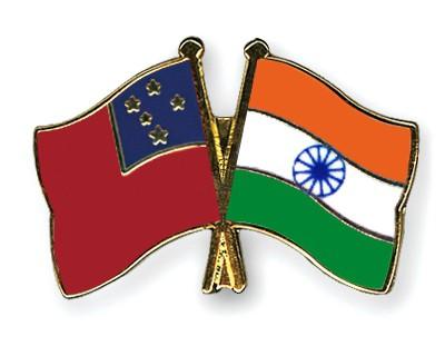 Crossed Flag Pins Samoa-India