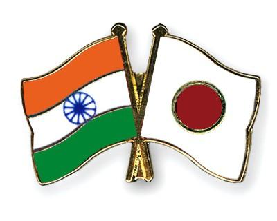 Crossed Flag Pins India-Japan