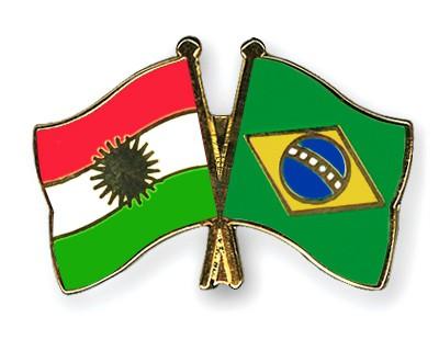 Crossed Flag Pins Kurdistan-Brazil