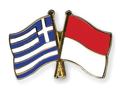 Crossed Flag Pins Greece-Monaco