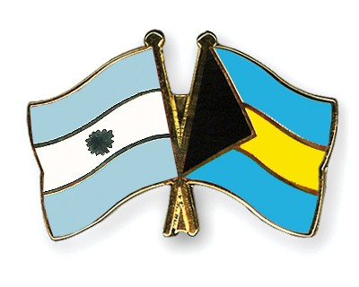 Crossed Flag Pins Argentina-Bahamas