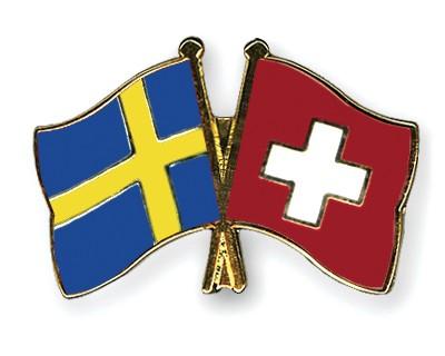 Crossed Flag Pins Sweden-Switzerland