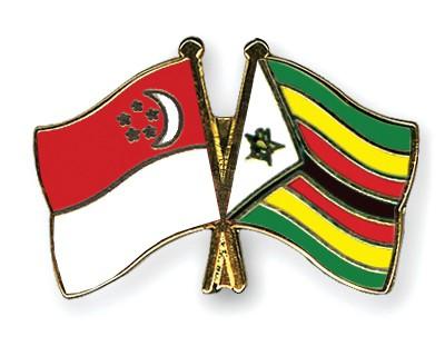 Crossed Flag Pins Singapore-Zimbabwe