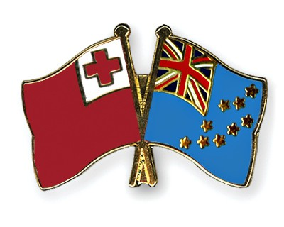 Crossed Flag Pins Tonga-Tuvalu