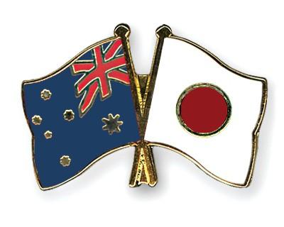 Crossed Flag Pins Australia-Japan