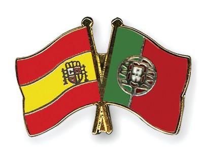 Crossed Flag Pins Spain-Portugal