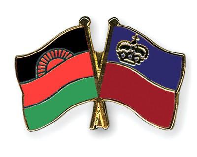Crossed Flag Pins Malawi-Liechtenstein