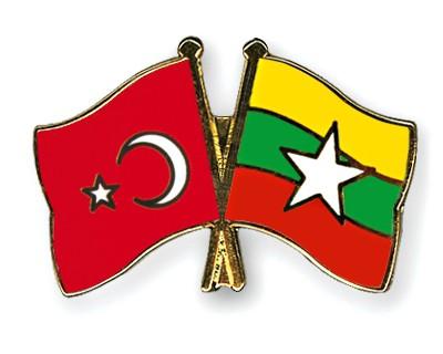 Crossed Flag Pins Turkey-Myanmar