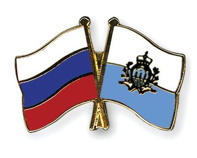 Crossed Flag Pins Russia-San-Marino