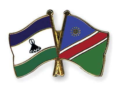 Crossed Flag Pins Lesotho-Namibia