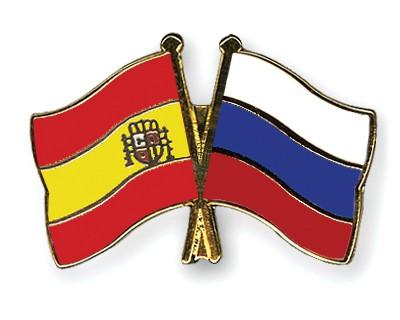 Crossed Flag Pins Spain-Russia