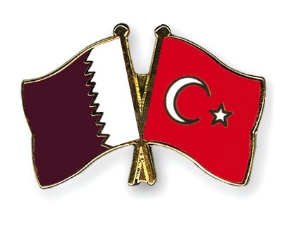Special Offer Crossed Flag Pins Qatar-Turkey