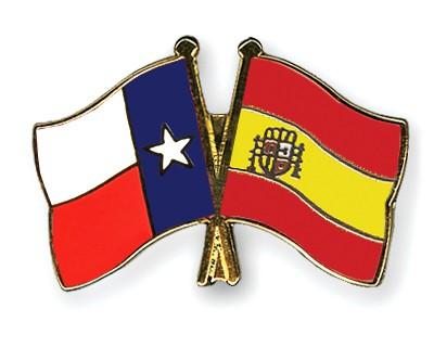 Crossed Flag Pins Texas-Spain