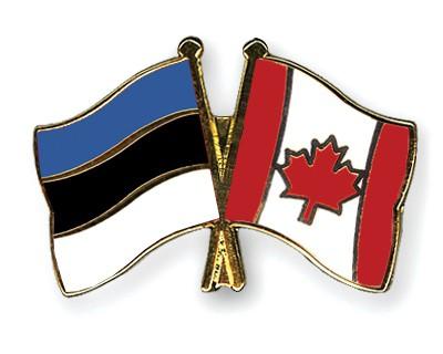 Crossed Flag Pins Estonia-Canada