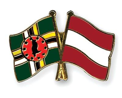 Crossed Flag Pins Dominica-Austria