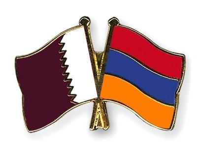 Special Offer Crossed Flag Pins Qatar-Armenia