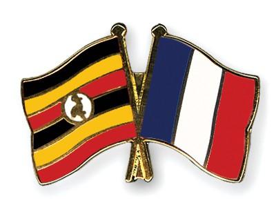 Special Offer Crossed Flag Pins Uganda-France