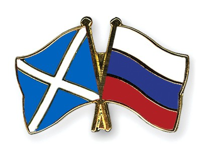 Special Offer Crossed Flag Pins Scotland-Russia