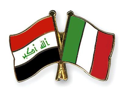 Crossed Flag Pins Iraq-Italy