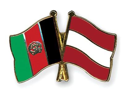 Crossed Flag Pins Afghanistan-Austria