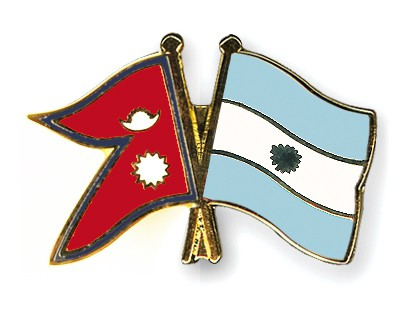 Crossed Flag Pins Nepal-Argentina
